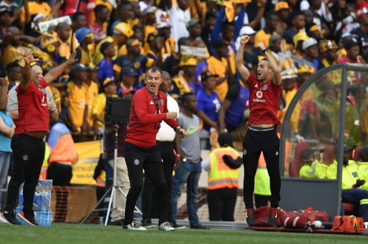 Orlando Pirates coach Milutin Sredojevic celebrates with players during the Absa Premiership match between Orlando Pirates and Kaizer Chiefs at FNB Stadium on October 27, 2018 in Johannesburg, South Africa.