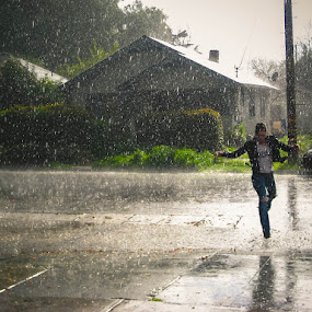 What The Hail by Serenity Deliz - People Street & Candids ( water, puddle jumping, serenity, weather, wet, outside, rain )