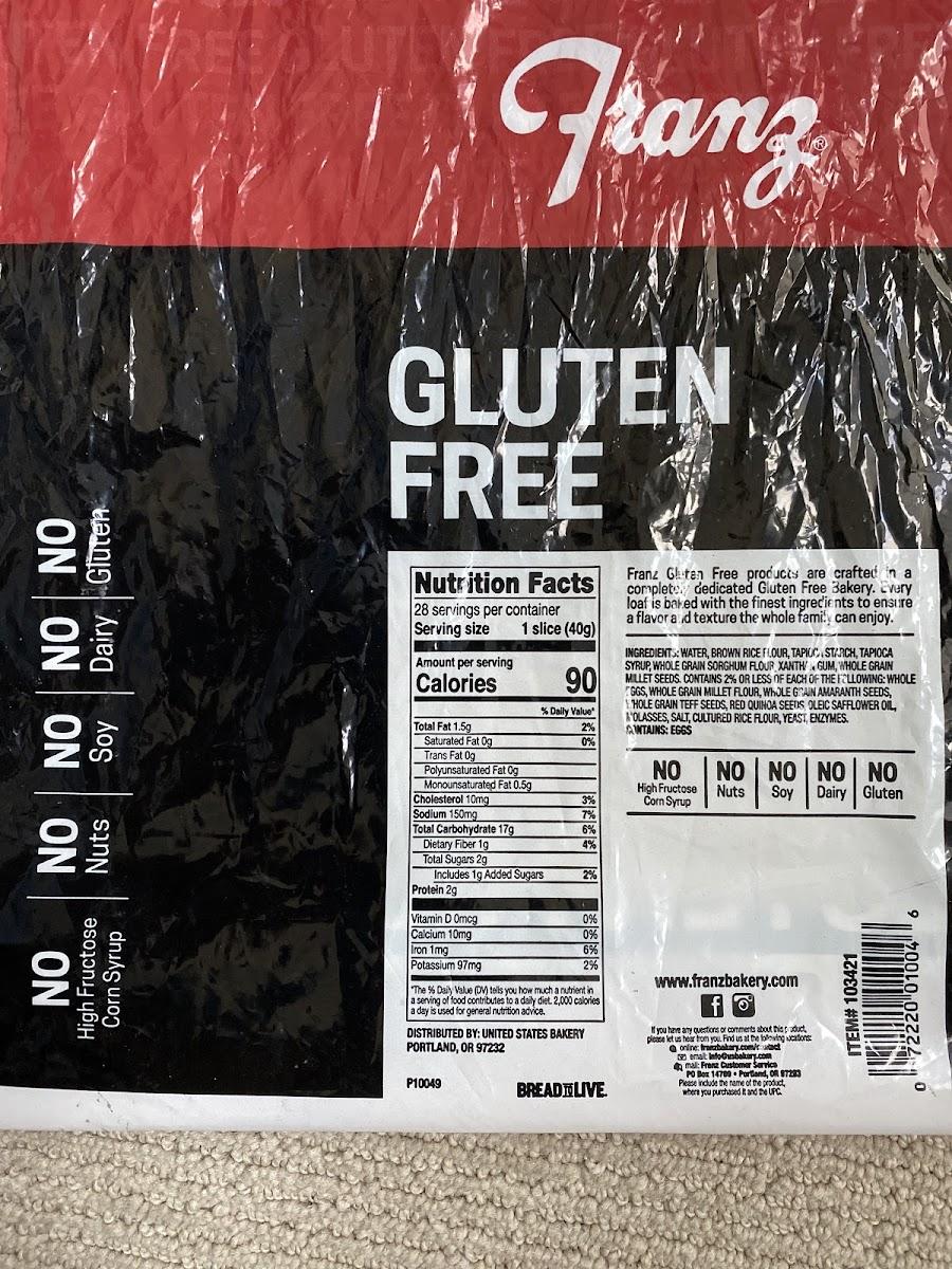 Franz Gluten Free Seven Grain Bread