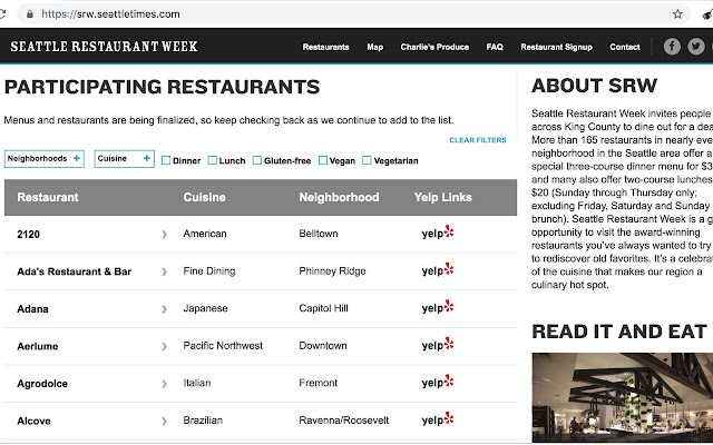 Yelp for Seattle Restaurant Week