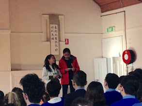 Photo: Day 12: Morning Assembly conducted by our students. Our emcees are Isabel and Minnie