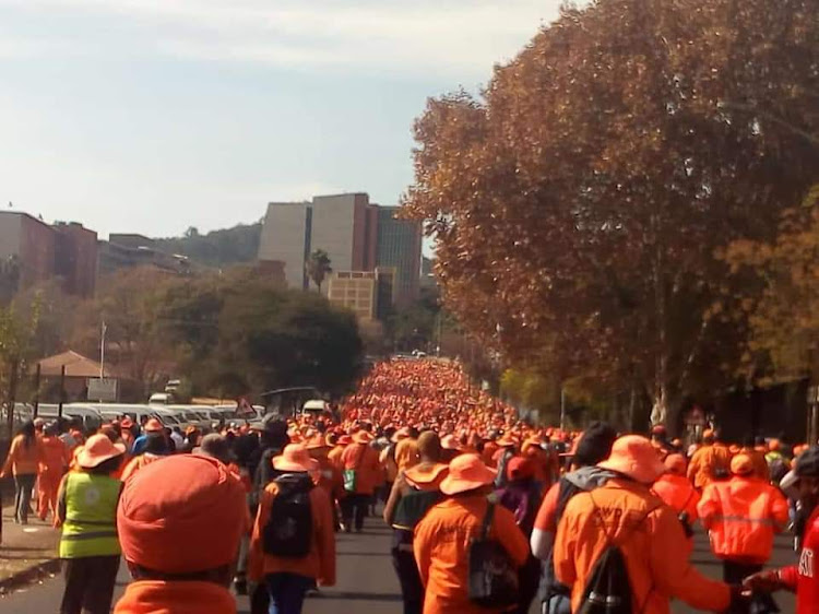 CWP workers marched to the Cogta Headquarters in Pretoria in June 2019.