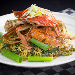 Stir Fry Crabs with XO Sauce and Egg Noodle.