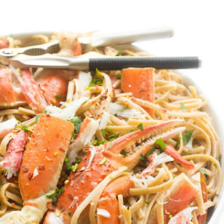 Crab Linguine in a White Wine Garlic Sauce.