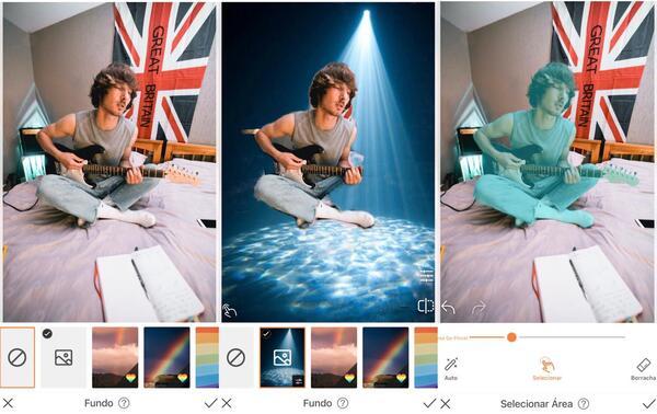 Foto de um homem tocando guitarra no quarto sendo editada pelo AirBrush com a ferramenta Fundo