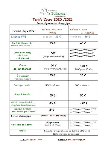 tarifs cours d'équitation Gers-Galauzoue