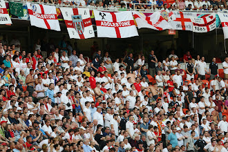 Photo: England fans look on during the UEFA EURO 2012 group D match between France and England at Donbass Arena on June 11, 2012 in Donetsk, Ukraine.