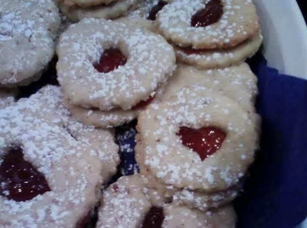 Strawberry Almond Linzer Sandwich Cookies