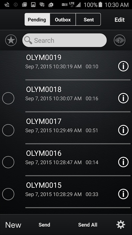 Olympus Dictation for Android- screenshot