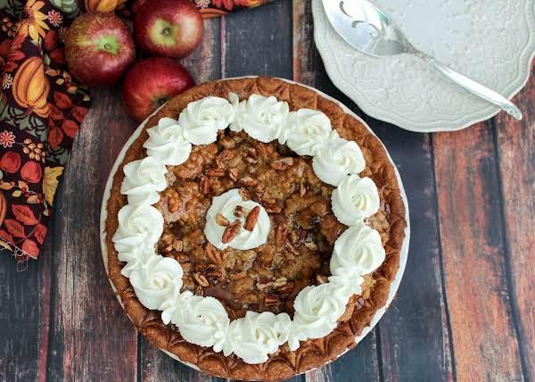 A Decorated Maple Apple Pecan Pie.