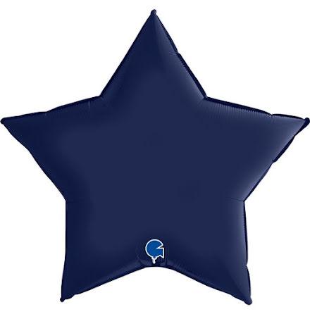 Folieballong Stjärna Satin - blue navy, 91 cm