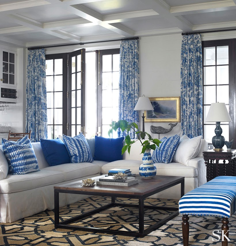 A More Traditional Blue And White Interior Casual