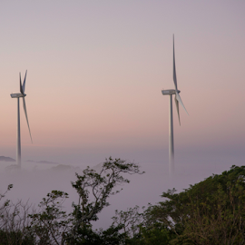 Windmills in the early morning clouds by Annette Flottwell - Landscapes Weather ( clouds, tilarán, fog, guanacaste, nubes, niebla, windmills, eolicas )