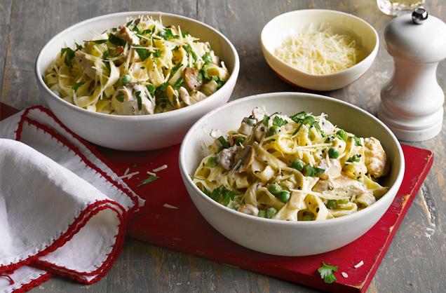 Lemony Chicken, Mushroom and Pea Pasta Recipe