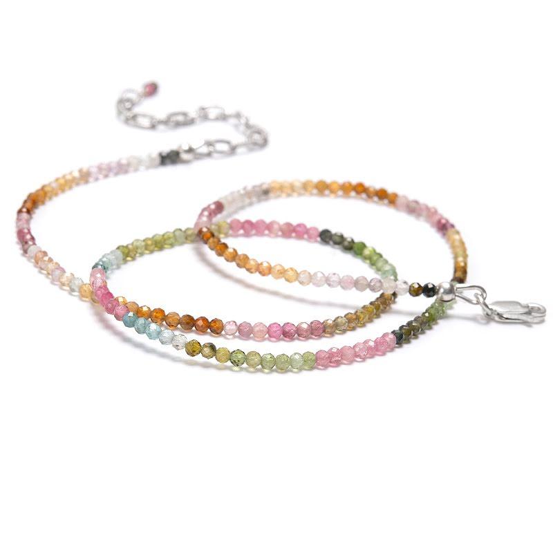 Turmalin, halsband med fasettslipade pärlor
