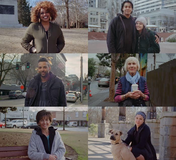 A montage of various smiling on-the-street interview subjects who have shared details about their relationship to technology.