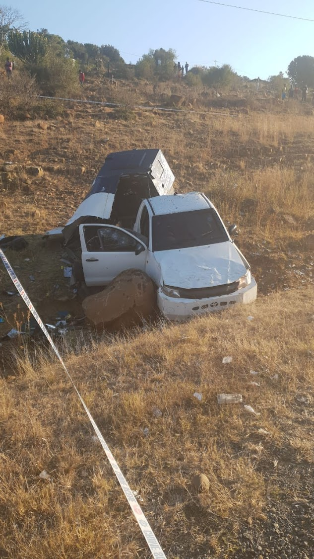 What remains of an armoured cash-in-transit vehicle bombed on the R33 near Dungamanzi in central KZN on July 11 2018