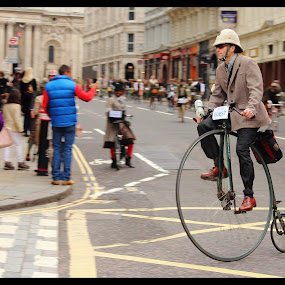 old bicycle on new road  by Jinesh Solanki - Transportation Bicycles ( panning, old style, old, london, speed, sunday, street, bicycle )