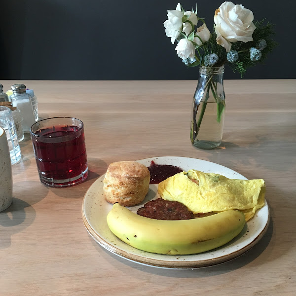 GF biscuit, banana, blueberry maple sausage, and the ever popular (also GF!) banana!