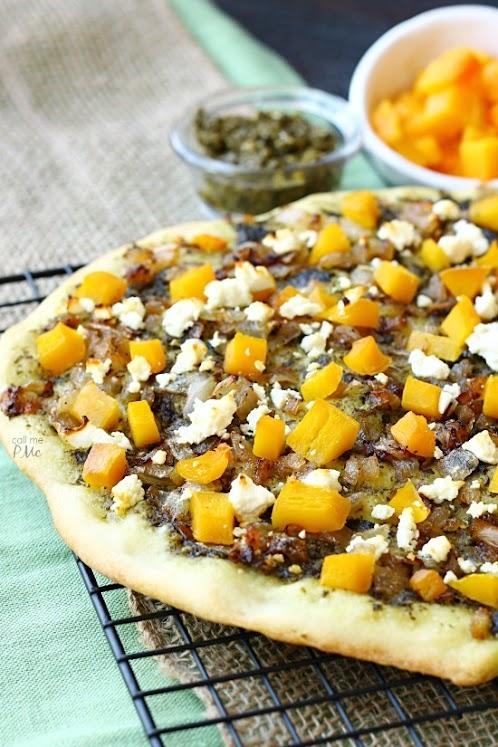 Caramelized Onion Butternut Squash Pesto Pizza Recipe