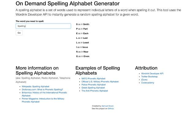 Random Spelling Alphabet Generator