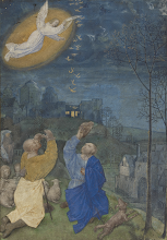 Photo: The Annunciation to the Shepherds ~ Master of the Houghton Miniatures. Ghent, Belgium late 1470s - about 1480  Biblical Inspiration 1  Theme: PEACE ON EARTH, GOOD WILL TO MEN ~ Message: Children's Chorus: ''Angels Aware'' ~ Meditation: Angels, God's Obedient Messengers ~ Scripture: Luke 2:8–14 ESV;  https://sites.google.com/site/biblicalinspiration1/biblical-inspiration-1-now-thank-we-all-our-god-changed-by-worship-the-moody-church/biblical-inspiration-1-o-come-o-come-emmanuel-series-the-baby-who-changed-the-world-message-he-redeems-the-world-the-moody-church/biblical-inspiration-1-joy-to-the-world-series-the-baby-who-changed-the-world-message-he-confounds-the-world-the-moody-church/biblical-inspiration-1-god-so-loved-the-world-series-the-baby-who-changed-the-world-message-he-divides-the-world-the-moody-church/biblical-inspiration1-peace-on-earth-good-will-to-men-message-children-s-chorus-angels-aware-meditation-angels-god-s-obedient-messengers-the-moody-church