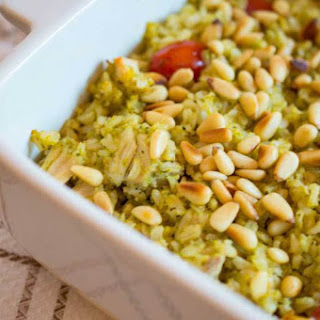 Pesto Rice with Chicken, Tomatoes and Pine Nuts.