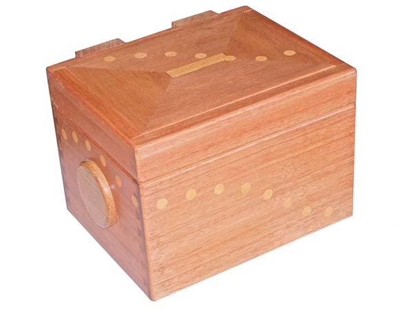 Photo: Follow the dots ...  A wooden keepsake box in red meranti hardwood with handcrafted wooden hinges and side handles.