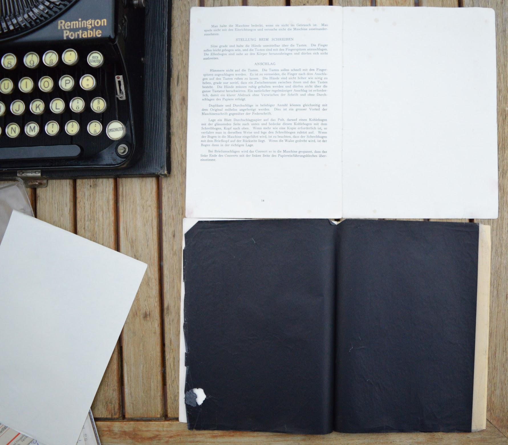Remington Portable - Gebrauchsanweisungen und Kohlepapier