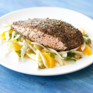 Roasted Verlasso Salmon with Fennel, Picholine Olives and Oranges