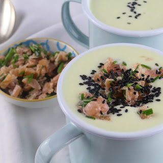 Chilled Cucumber Soup with Smoked Salmon and Black Sesame