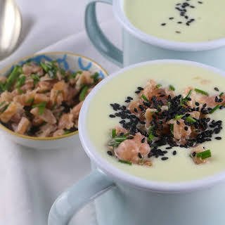 Chilled Cucumber Soup with Smoked Salmon and Black Sesame.