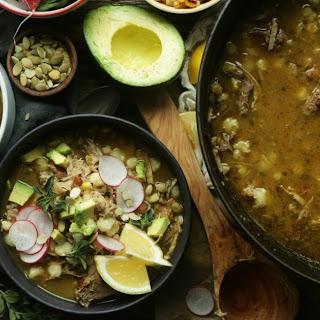 Authentic Pozole Verde Soup.