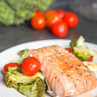 Oven Poached Salmon with Cherry Tomatoes and Broccoli {GF, DF, Paleo}.