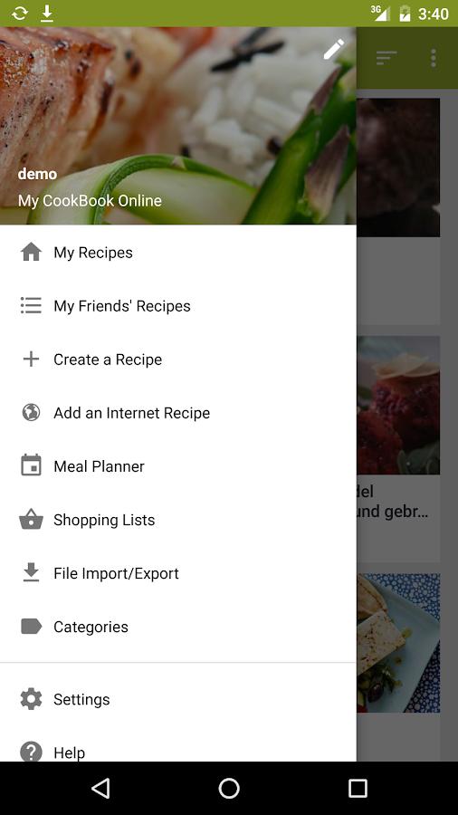 My Cookbook Recipe Manager Screenshot
