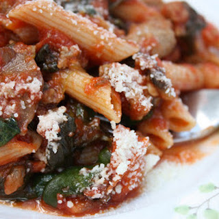 Penne with Sausage, Spinach and Tomatoes