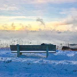 Early Morning by NINA JONAS - Artistic Objects Furniture ( ocean, winter, kennebunkport, sea scapes, sea smoke )