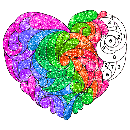 Valentine Love Glitter Color by Number Book Pages Icon
