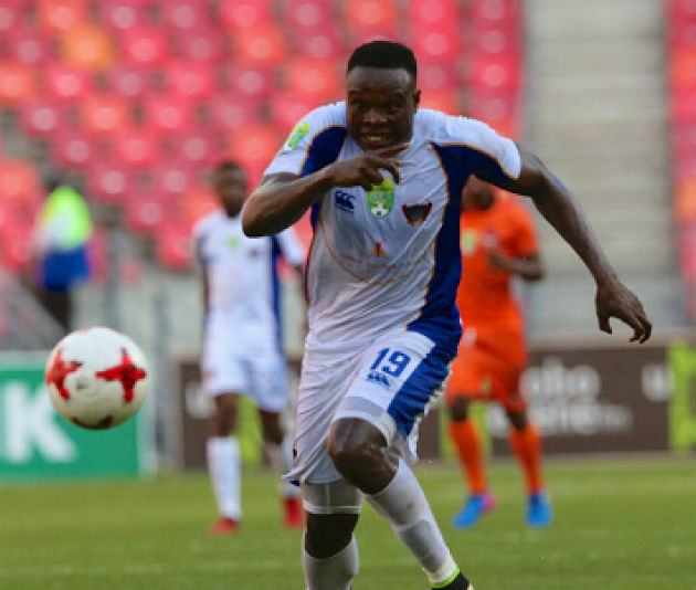 Rhulani Manzini, seen here in action for Chippa United during the Nedbank Cup last-16 match against Polokwane City at Nelson Mandela Bay Stadium in April 2017, is delighted to be back with the club