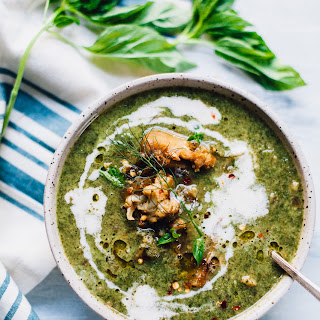 Creamy Vegan Nettles Soup with Kale and Cauliflower