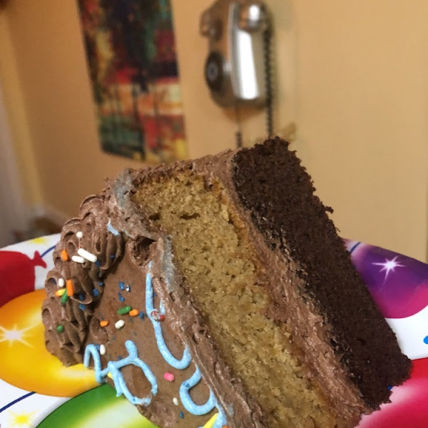 Vanilla and chocolate cake with chocolate frosting