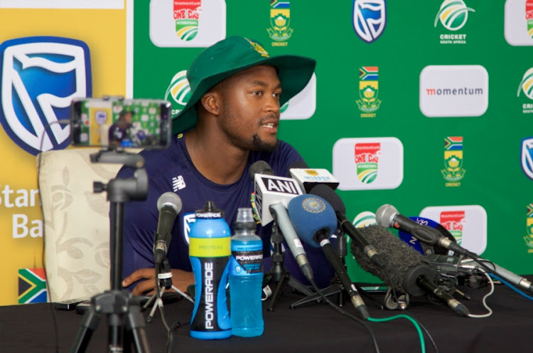 Andile Phehlukwayo during the South Africa national mens cricket team training session and press conference at St Georges Park on February 12, 2018 in Port Elizabeth, South Africa.