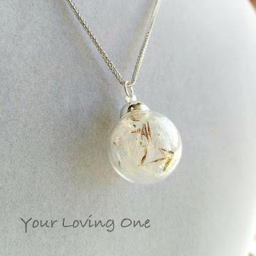 純銀蒲公英玻璃球頸鏈