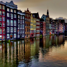 Hdr Amsterdam by Stefano Landenna - City,  Street & Park  Vistas ( water, houses, hdr, holland, gracht, reflections, night, amsterdam, canal, evening, river )