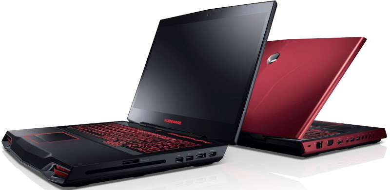 Photo: New Alienware M17x laptops in Stealth Black and Nebula Red (angled view, back-to-back)