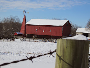 Photo: Red barn on a winter day at Carriage Hill Metropark in Dayton, Ohio.