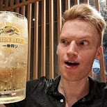 drinking Kirin Beer at IKA center Tokyo in Tokyo, Tokyo, Japan
