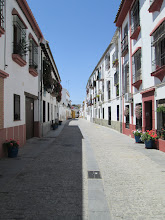 "Photo: A typical street in Córdoba.  This picture was taken during the middle of the day during the ""siesta.""  This is a break in the day where people are able to go home from work, eat lunch, and get out of the miserable heat."