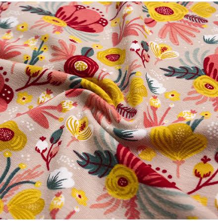 Blommor Bomullstrikå - beige