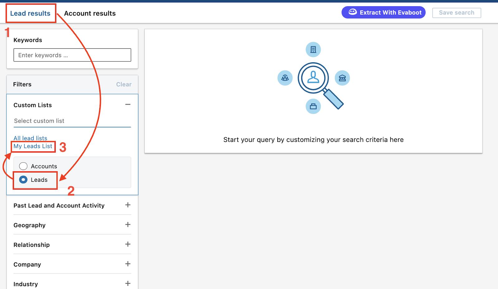 display lead list into linkedin sales navigator search engine